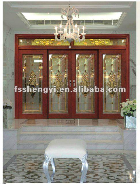 de lujo de madera maciza puerta corredera de cristal