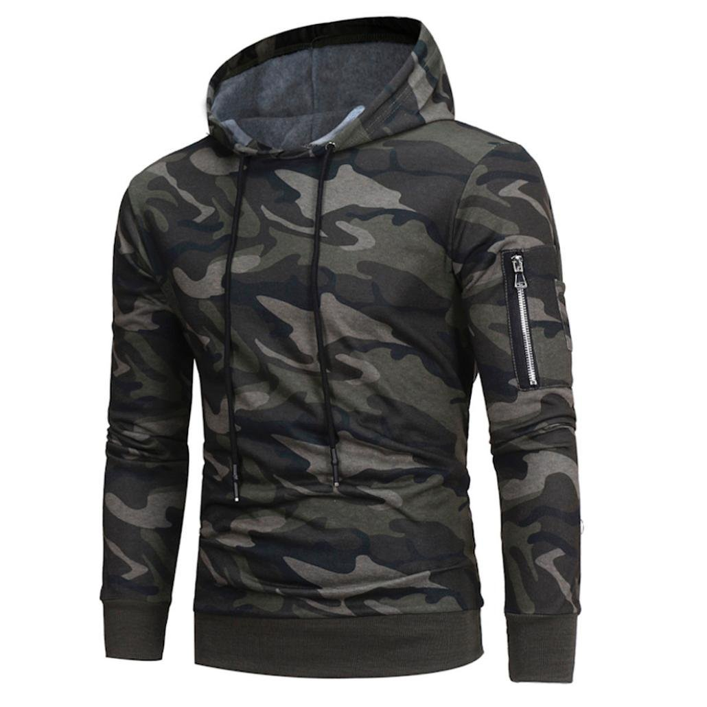 HOT ! Ninasill Mens Autumn And Winter Long Sleeve Camouflage Hoodie Hooded Sweatshirt Tops Jacket Coat Outwear (XXL, Camouflage)