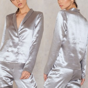 Hot sale metallic silver shawl collar 100% polyester sexy woman fashion blazer