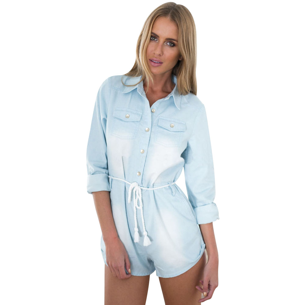69ff57fb7d0a Get Quotations · Fashion Autumn Denim Jumpsuit Light Blue Short Rompers  Womens Elegant Jumpsuit Casual Playsuit Dropship