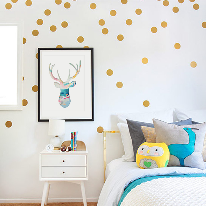 Custom Gold polka dot diy wall decals nursery kids room removable vinyl paper wall art home decoration sticker