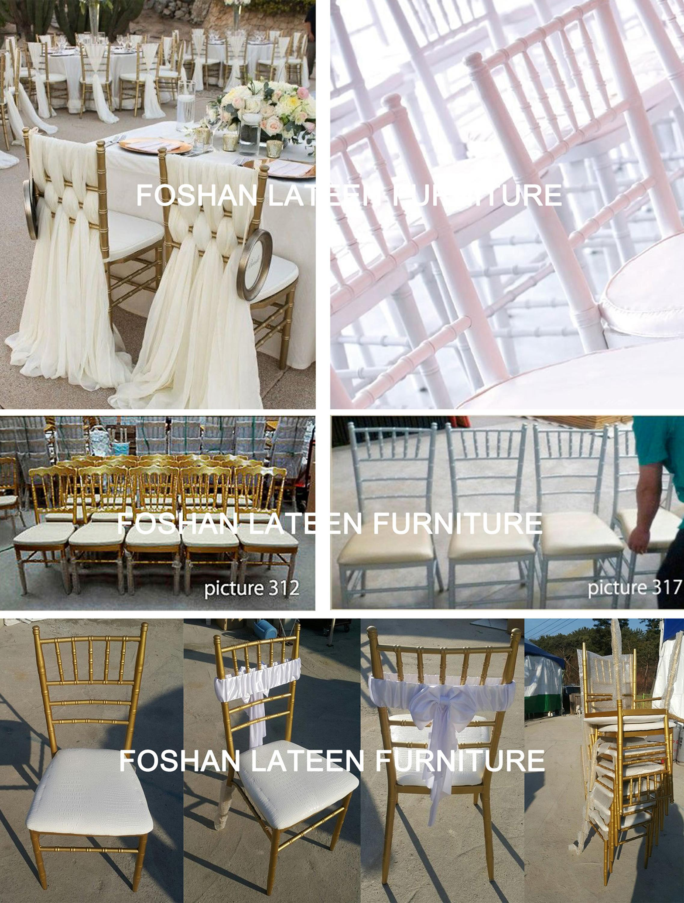 Wholesale Stacking Tiffany Chair Gold Steel Metal Wedding Chiavari