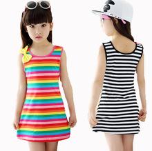 2-14Y meninas 12 anos roupas de Algodão Casual Crianças Roupas de verão Sem Mangas Listrado Roupa Do Bebê Para A Menina crianças vestido vestidos