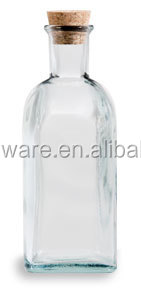17 oz (500 ml) Clear Taberna Spanish Recycled Glass Bottle with Cork