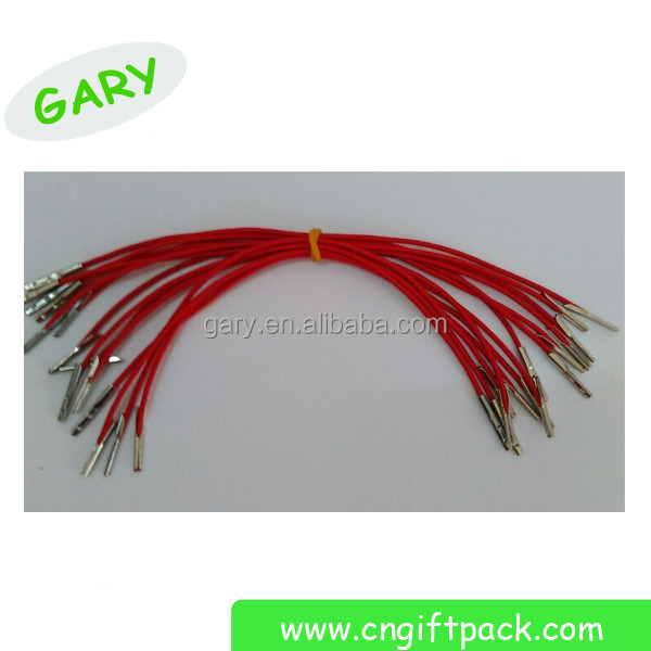 red polyester elastic cord string with metal barbs ends supplier