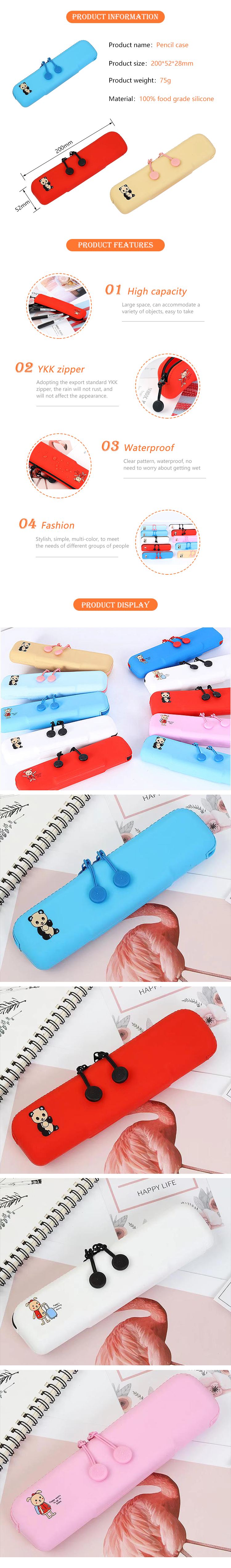 2019 new fashion eco-friendly silicone school pencil bag for girl