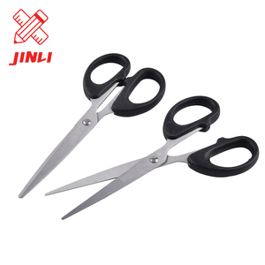 Professional manufacture high quality safety cutting papers student plastic handle black office scissors