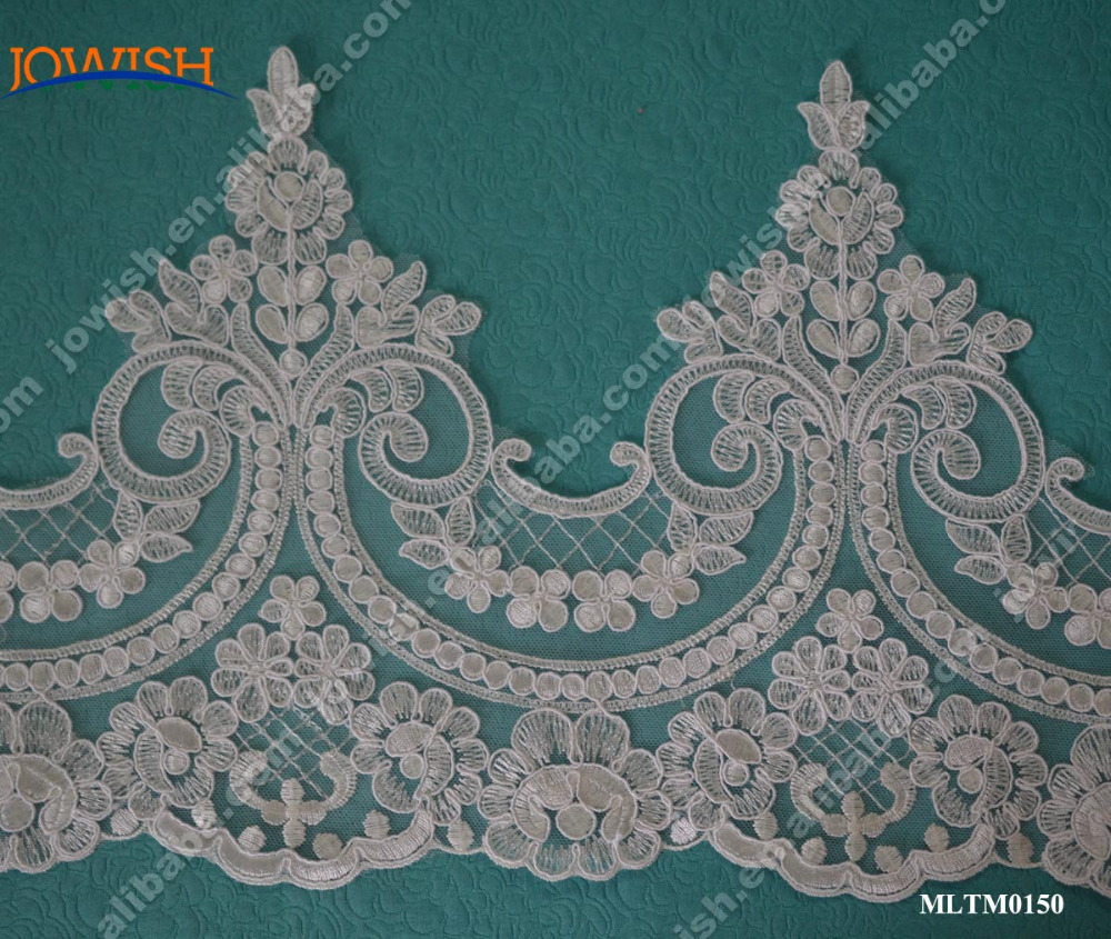 Classical Design net Embroidery Flower Lace trim For Wedding Dress