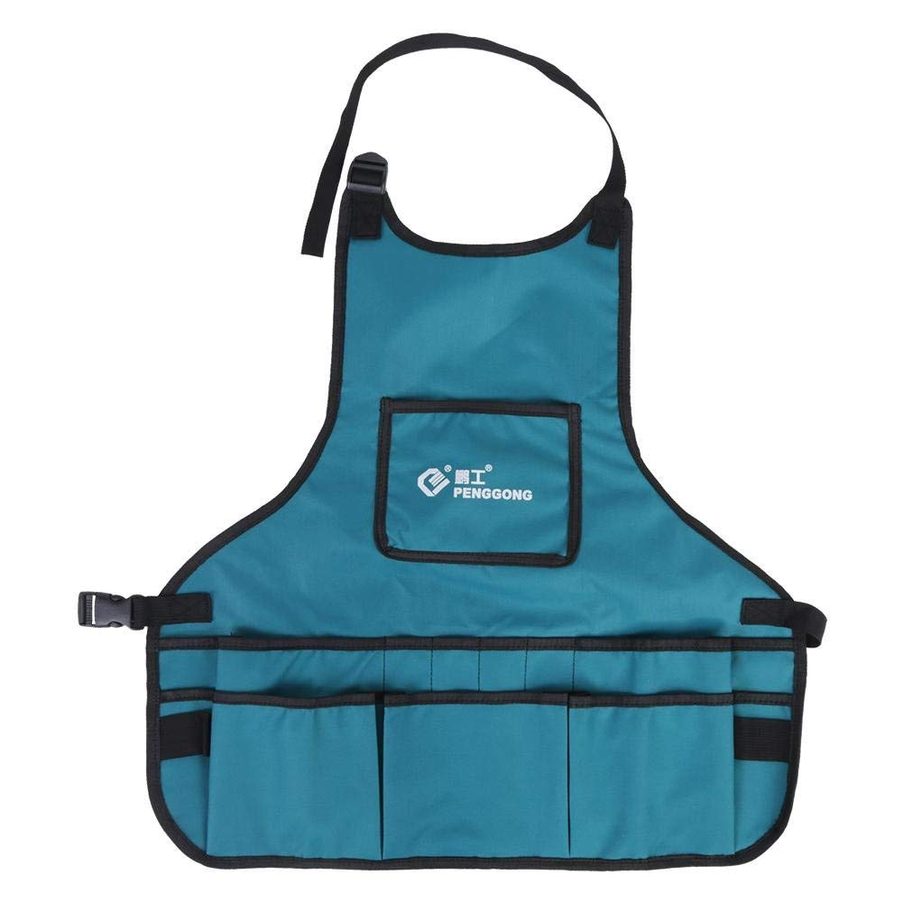 Tool Apron Professional Work Apron with 14 Tool Pockets,Fully Adjustable,Waterproof & Protective,Gardener Tool Storage Apron Holder,Convenient Work Organizer(1pc) (蓝色)
