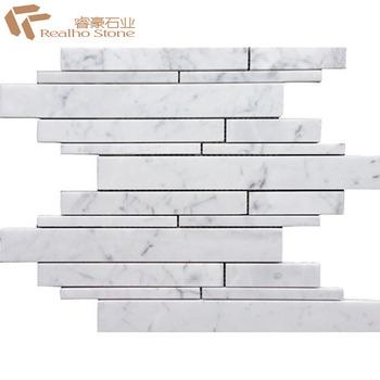 Badkamer Tegels Wit.Gestreepte Chips Rij Carrara Wit Marmer Mozaiek Tegels Voor Badkamer Buy Carrara Marmer Mozaiek Carrara Wit Marmeren Badkamer Mozaiek Tegel Mosaico