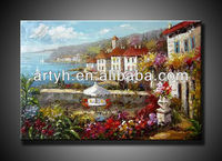 classical oil painting of village--home decoration--wall art