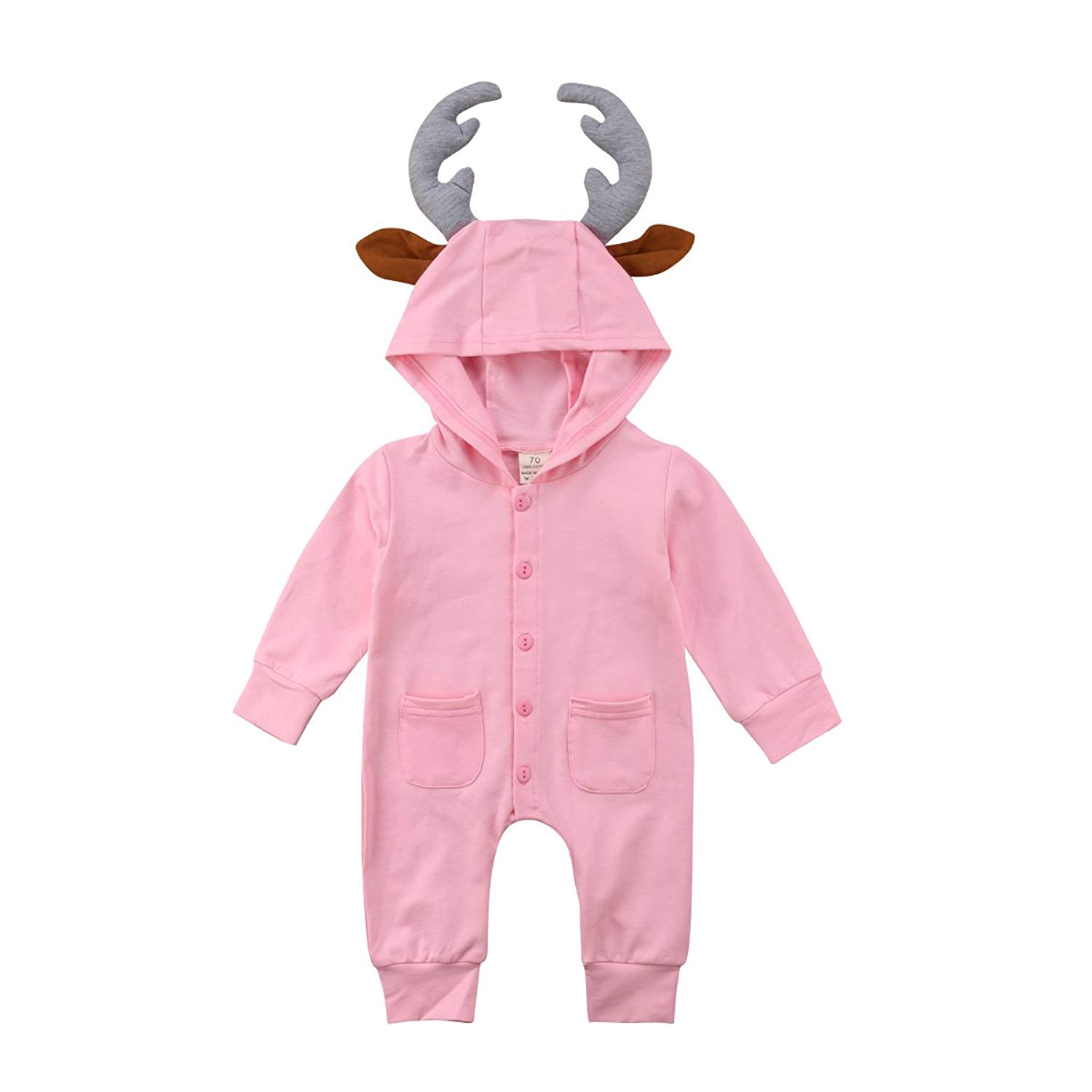 66a5b0c2f Baby Boy Girl Clothes Romper Jumpsuit 3D Deer Antler Bodysuit One-Piece  Footless Jumpsuits Summer Outfit