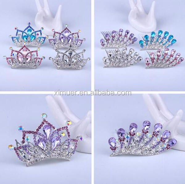 Promotional factory small rhinestone crown kids bridal hair comb