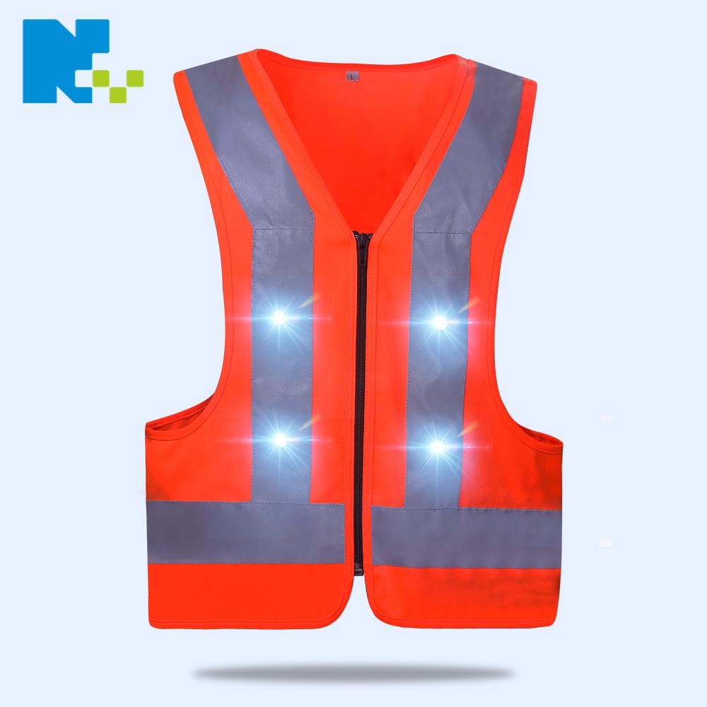Hi Vis reflective waterproof Led Vest Running Cycling Jogging light up safety vest