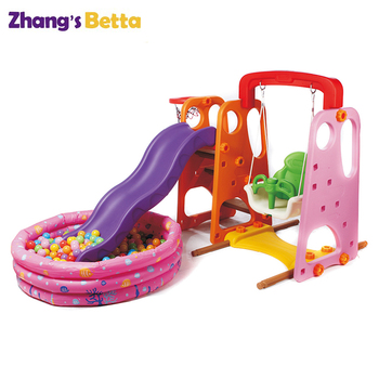 Hot Sell Playground Kids Indoor Plastic Slide & Swing Play Sets For Home