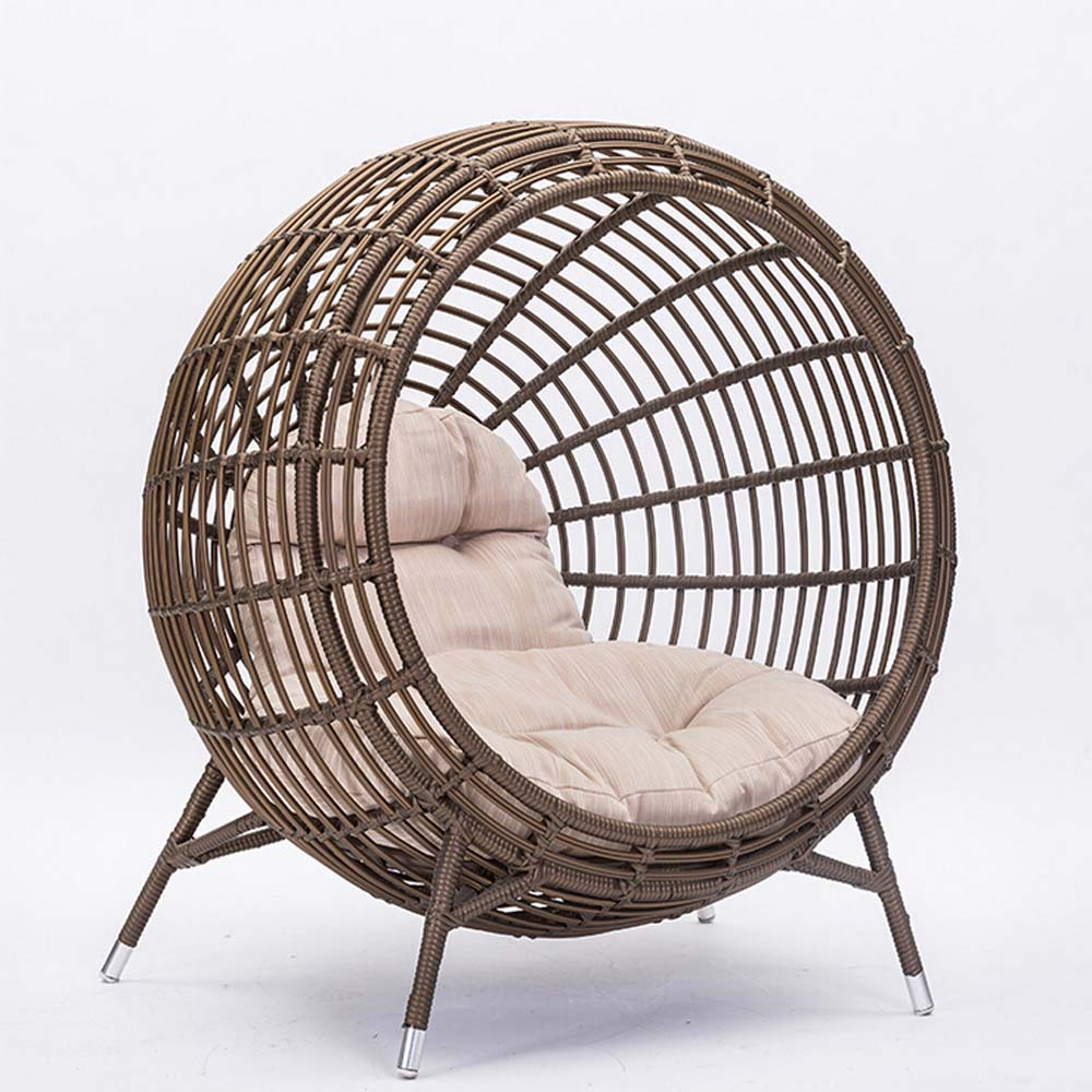 Round chaise lounge chair for Chaise longue rotin
