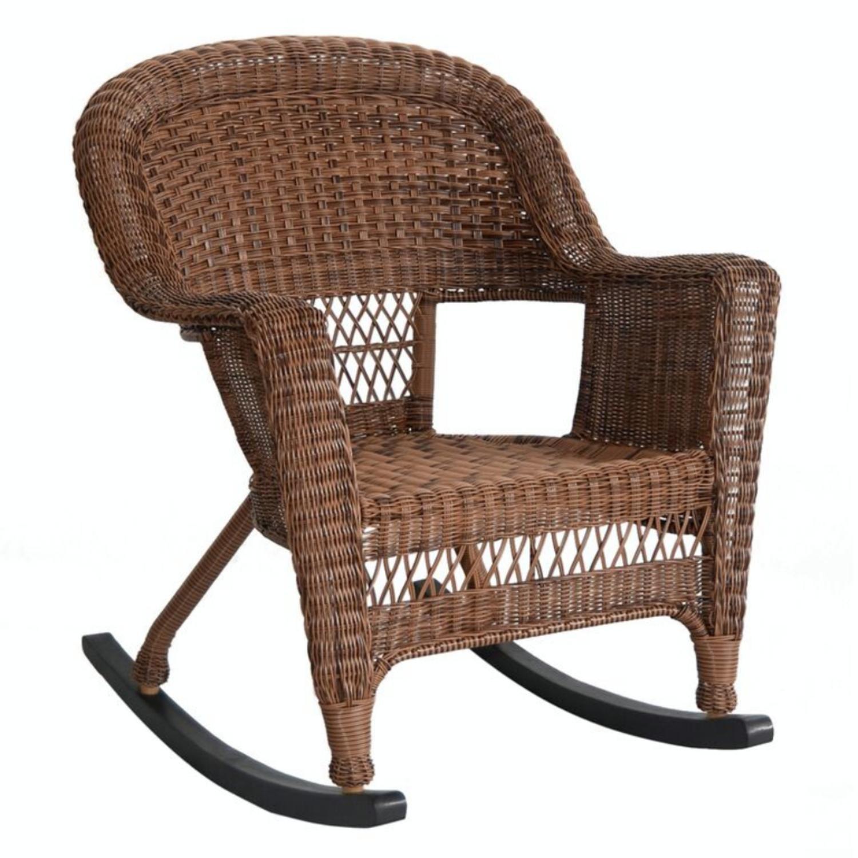 Get Quotations · Set Of 2 Honey Brown Woven Resin Wicker Outdoor Patio  Rocker Chairs