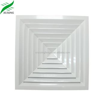 Hvac System Supply 4 Way Aluminum Square Air Diffuser Ac Ceiling Vents