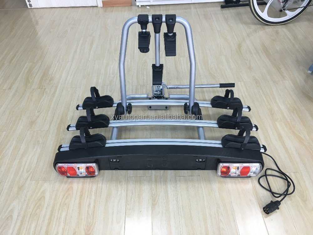 High Quality Aluminium Car rear bike carrier for three bicycle with light