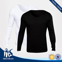 2016 shandao scoop neck 210g 70%cotton 30%spandex black long sleeve fit t shirt supplier malaysia