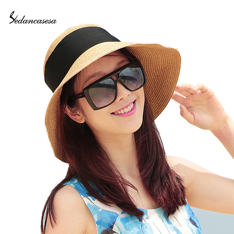 Get Quotations · Fashion Summer Hat For Women Straw Hats with Black Bowknot Wide  Brim Floppy Sun Visor Hat a457a9dac8dc