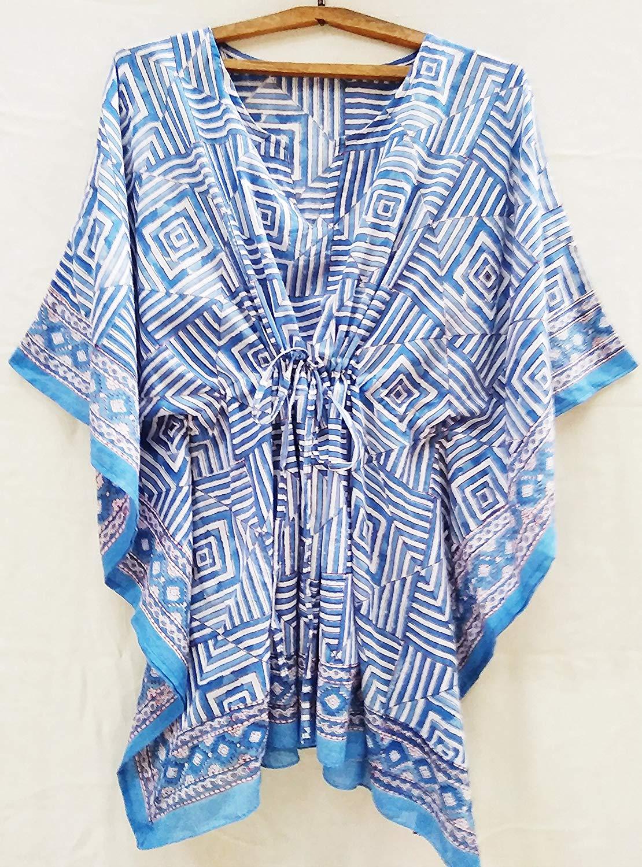 Blue & White Art Deco Anokhi style Hand Block Print Indian cotton Kaftan Tunic top One size