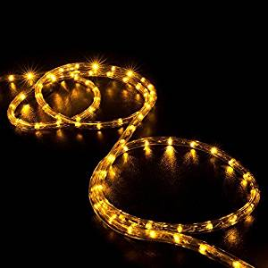 WYZworks 50' feet Orange / Amber LED Rope Lights - Flexible 2 Wire Accent Holiday Christmas Party Decoration Lighting