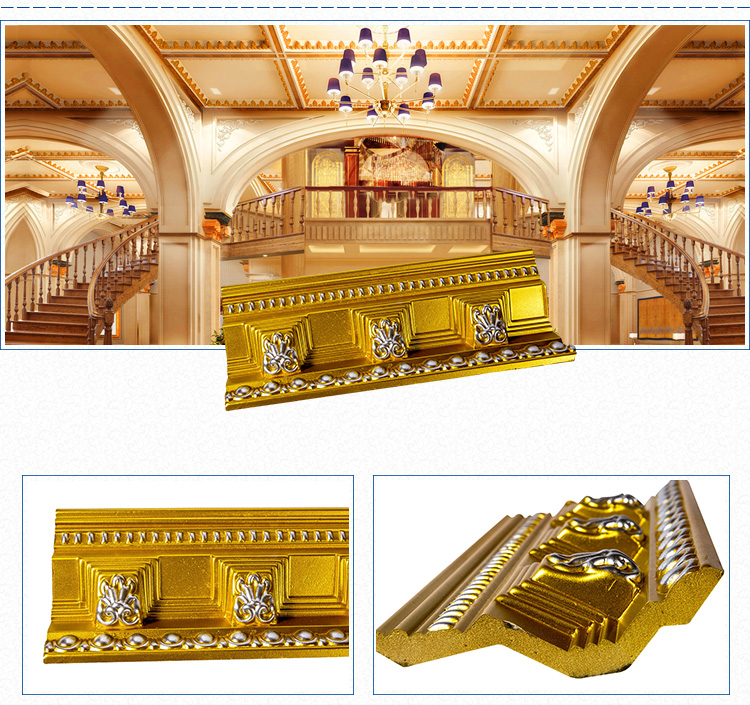 Good price carving cornice 3D PU Decorative Moulding for hotels