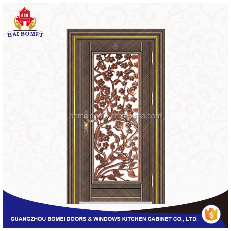 Made in China security satinless steel grill double glass swong door