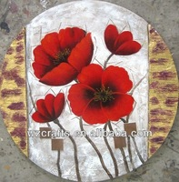 3D Relief Round Shape Canvas Flower Oil Painting