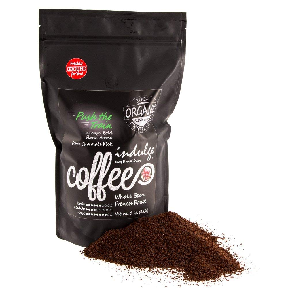 Indulge, Premium Organic French Roast (Dark Roast) Coffee, 1 Lb (16oz), MOSA Certified Organic (Ground)