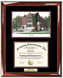 Michigan State University Student Union MSU Lithograph College Diploma Frame    Personalized Gold Or Silver Engraved