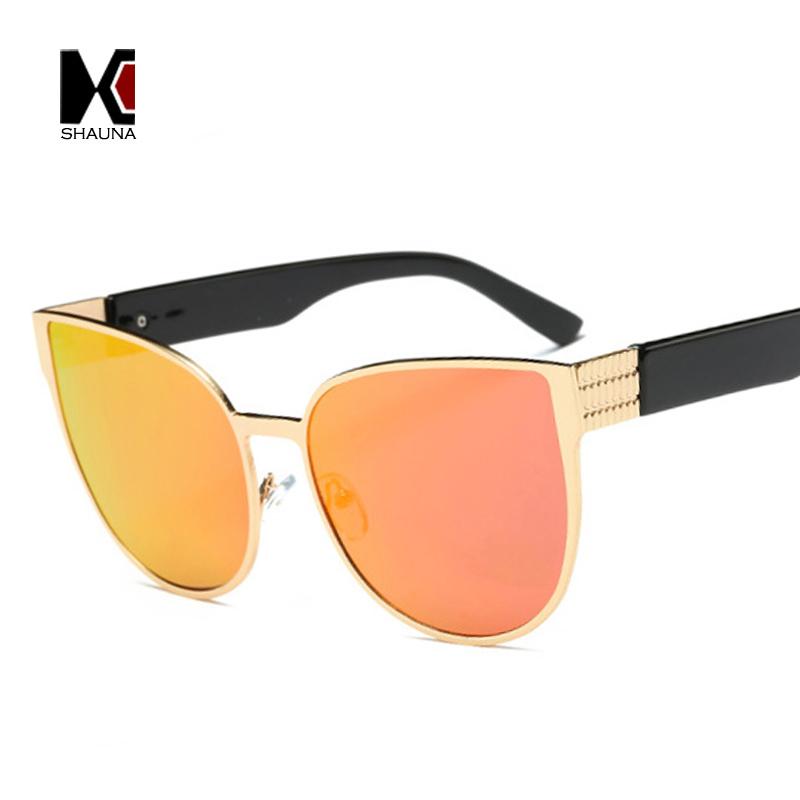 eb4a2165c SHAUNA 100% نظارة بعدسات مستقطبة المتضخم النساء القط العين النظارات الشمسية  أزياء عاكسة عدسة مخصص