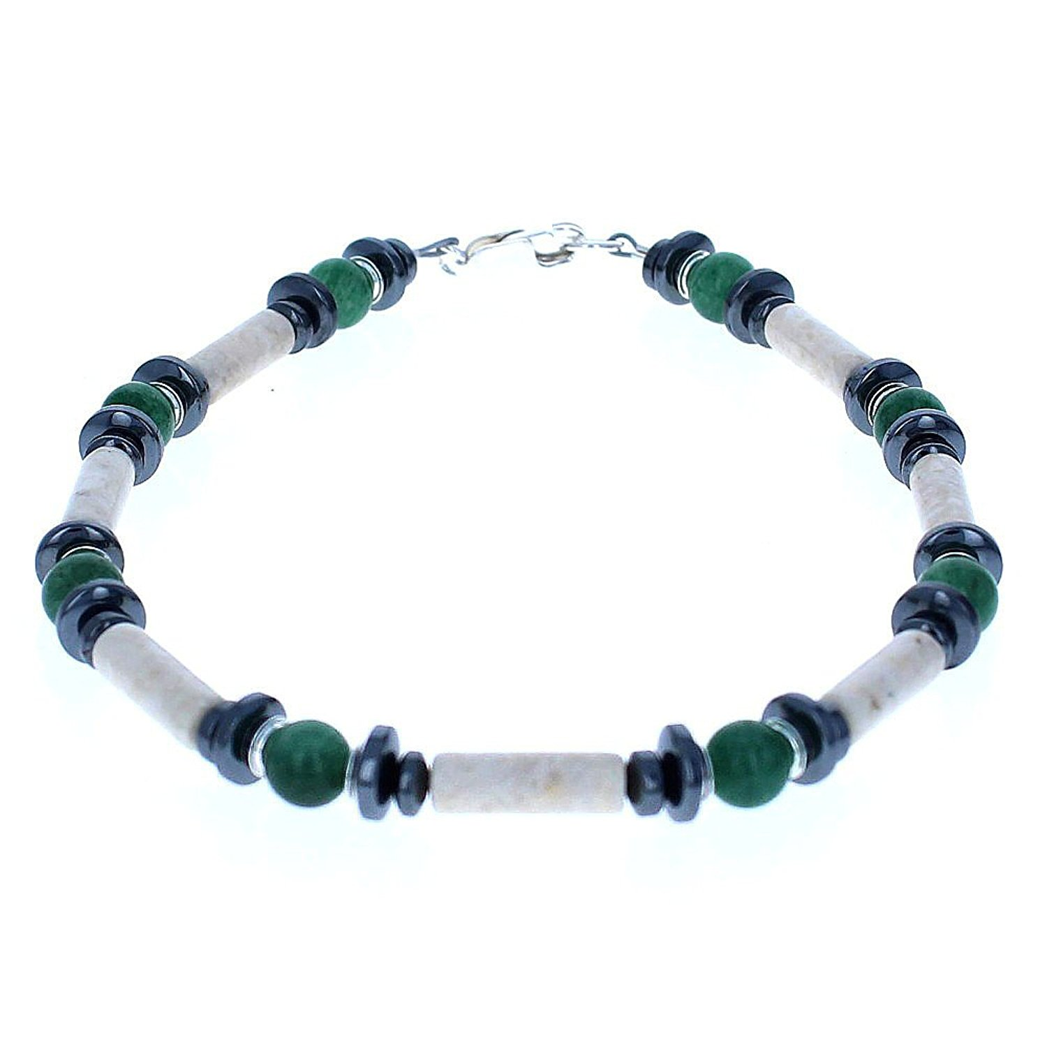 Timeless-Treasures Womens Aventurine, Riverstone, Hematite (Hemalyke) & Sterling Silver Ladies Beaded Gemstone Anklet