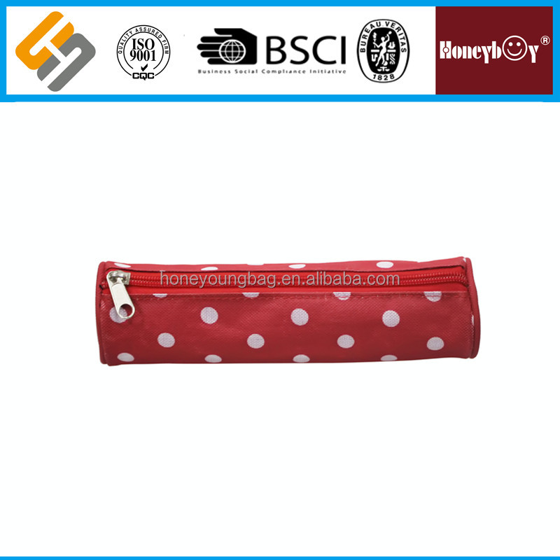 2016 new 1c silk printing fancy custom design red dots cheap round pencil bag