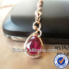 New Arrival 18K Gold Necklace, Diamond Pendant, Natural Red Tourmaline Pendant Jewelry