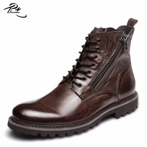 Best natural cow leather winter young mens fashion boots