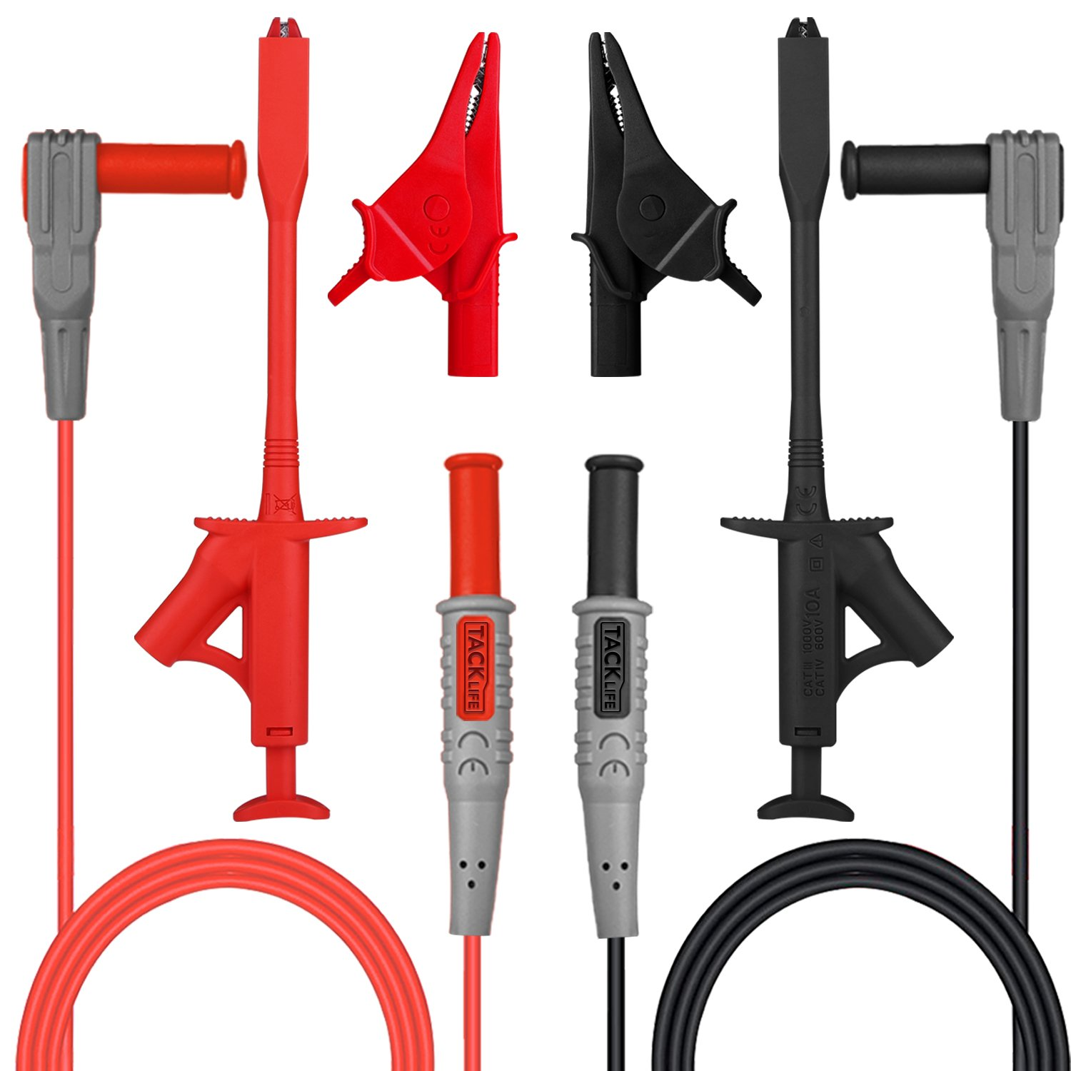 TACKLIFE Electronic Test Leads Kit, Digital Multimeter Leads with Test Extension, Alligator Clips, Retractable Alligator Clips Replaceable Test Meter & Clamp Meter Probes Tips Set of 6 Pieces, METL03