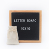 Changeable letter board with display stand / 10 x 10 inch oak frame / felt letter board
