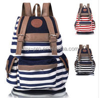 Special offer striped canvas backpack fashion casual school bag
