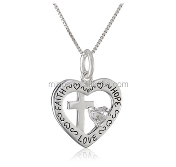 Heart with cross and clear heart cubic zirconia faith hope love heart with cross and clear heart cubic zirconia faith hope love pendant necklace aloadofball Gallery
