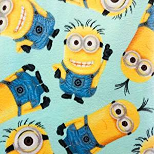 """PreCut 1-1/2 yards - Despicable Me """"Minions All Over"""" on Light Blue Fleece Fabric - Officially Licensed (Great for Quilting, Sewing, Craft Projects, Throw Blankets & More) Pre-Cut 1-1/2 Yards X 60"""""""