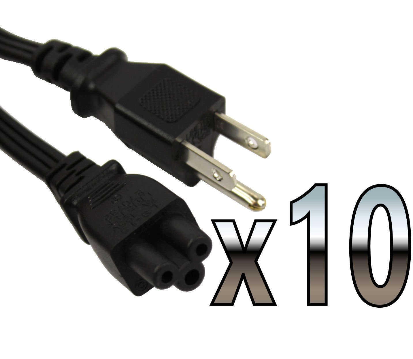 10 PACK 6FT 3 Prong Mickey Mouse Power Cord Cable for Laptop PC Printer Adapter