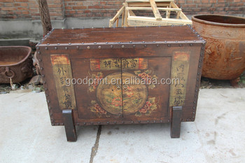 Aluminum And Wood Antique Chinese Medicine Cabinet