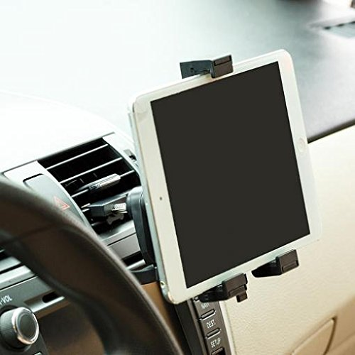 Car Mount Air Vent Tablet Holder Rotating Cradle Swivel Dock Stand Black for Verizon LG G Pad 8.3 - Verizon Motorola DROID XYBOARD 10.1 - Verizon Motorola DROID XYBOARD 8.2