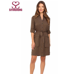 Hot sale the latest Belted Shirtdress Banded collar shift dress