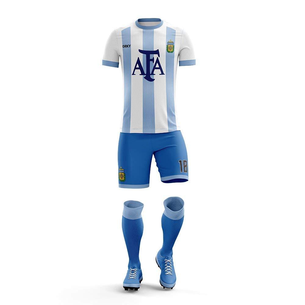 9ebf3ce90 Get Quotations · ORKY Custom Soccer Uniform Argentina National Style Men  Kid Soccer Jersey Short Youth Football Team Set