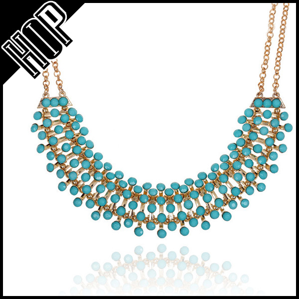 Best selling fashion blue bead statement bib full neck covering necklace design