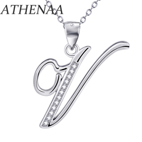 ATHENAA Letter Pendant Jewelry 925 Sterling Silver Zircon Inlay V Alphabet Necklaces Fashion Design Accessories Women