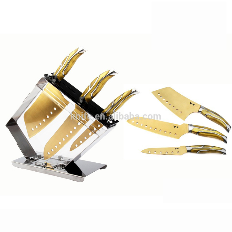 Factory wholesale 4 pcs new delux high quality golden titanium knife set